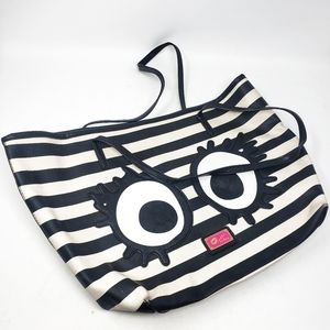 Betsey Johnson | Black White Stripe Face Eyes Tote
